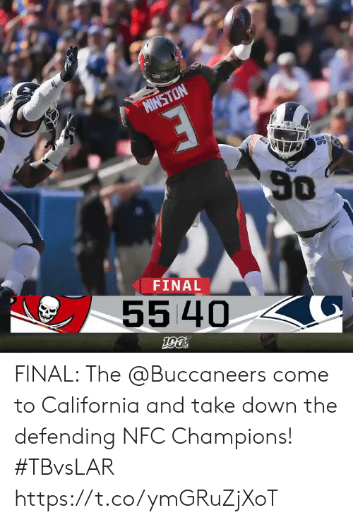 champions: MINSTON  50  Rem  FINAL  55 40 FINAL: The @Buccaneers come to California and take down the defending NFC Champions!  #TBvsLAR https://t.co/ymGRuZjXoT