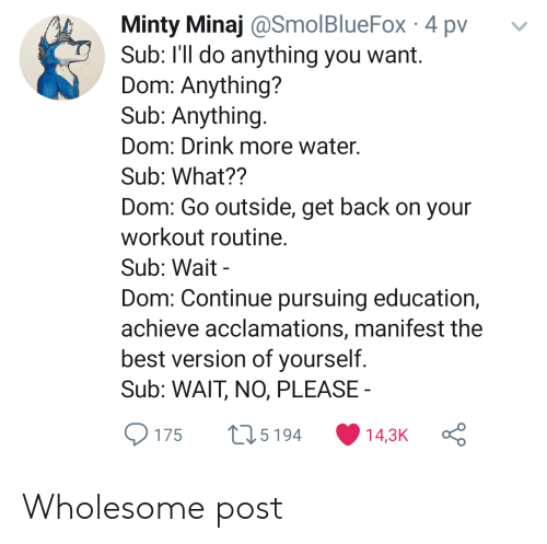Drink More Water: Minty Minaj @SmolBlueFox 4 pv  Sub: I'll do anything you want.  Dom: Anything?  Sub: Anything.  Dom: Drink more water.  Sub: What??  Dom: Go outside, get back on your  workout routine.  Sub: Wait  Dom: Continue pursuing education,  achieve acclamations, manifest the  best version of yourself.  Sub: WAIT, NO, PLEASE  L15194  14,3K  175 Wholesome post