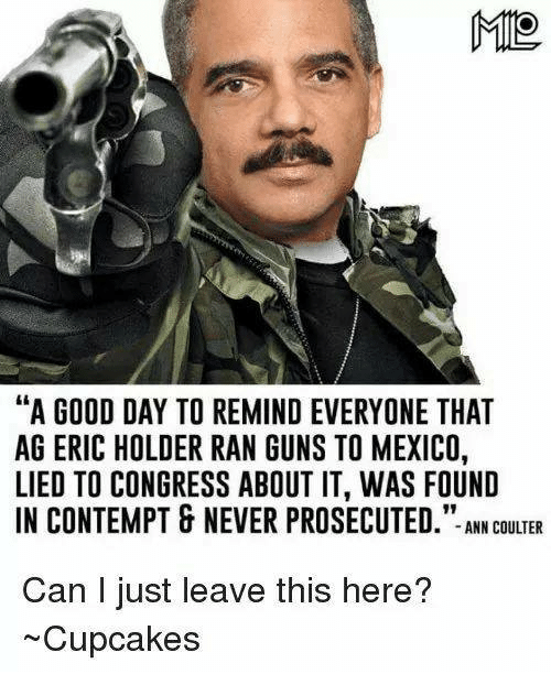 """Contemption: MIO  """"A GOOD DAY TO REMIND EVERYONE THAT  AG ERIC HOLDER RAN GUNS TO MEXICO,  LIED TO CONGRESS ABOUT IT, WAS FOUND  IN CONTEMPT & NEVER PROSECUTED  ANN COULTER  Can I just leave this here?  ~Cupcakes"""