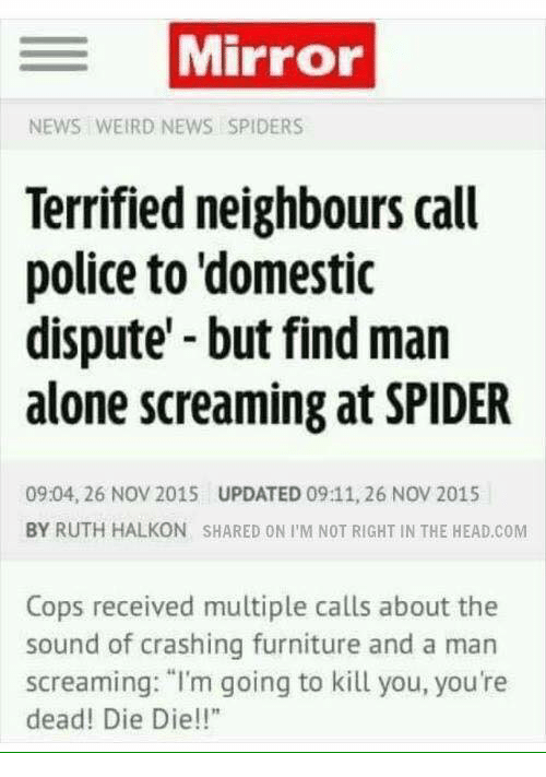 "Dieing Dying: Mirror  NEWS WEIRD NEWS SPIDERS  Terrified neighbours call  police to domestic  dispute but find man  alone screaming at SPIDER  09:04, 26 Nov 2015 UPDATED 09:11, 26 NOV 2015  BY RUTH HALKON SHARED ON I M NOT RIGHT IN THE HEAD.COM  Cops received multiple calls about the  sound of crashing furniture and a man  screaming: ""I'm going to kill you, you're  dead! Die Die!!"""