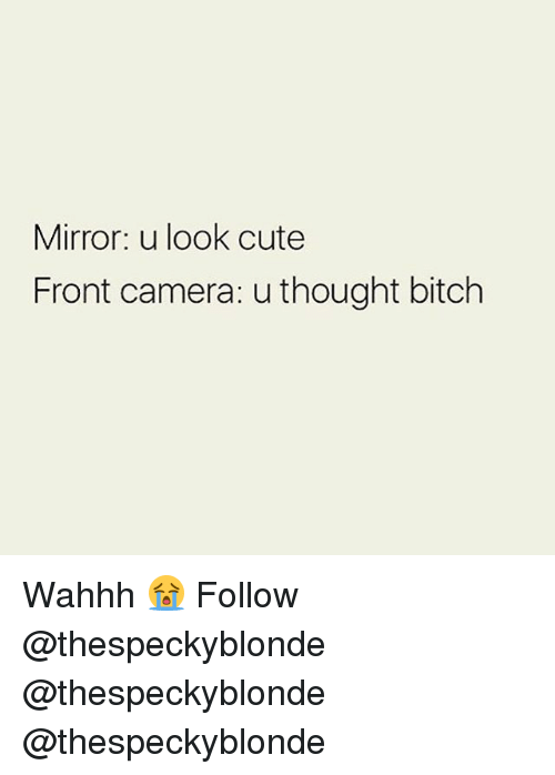 Bitch, Cute, and Memes: Mirror: u look cute  Front camera: u thought bitch Wahhh 😭 Follow @thespeckyblonde @thespeckyblonde @thespeckyblonde