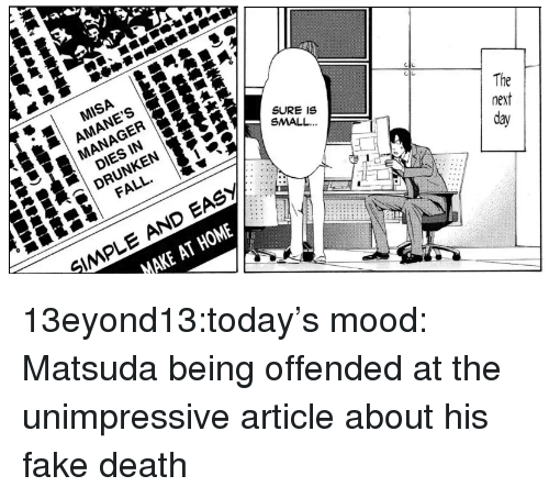 Fake, Fall, and Mood: MISA  | AMANE'S  MANAGER  SURE IS  SMALL.  DIES IN  DRUNKEN  FALL.  The  next  day  SMPLE AND EASY  MAKE AT HOME 13eyond13:today's mood: Matsuda being offended at the unimpressive article about his fake death