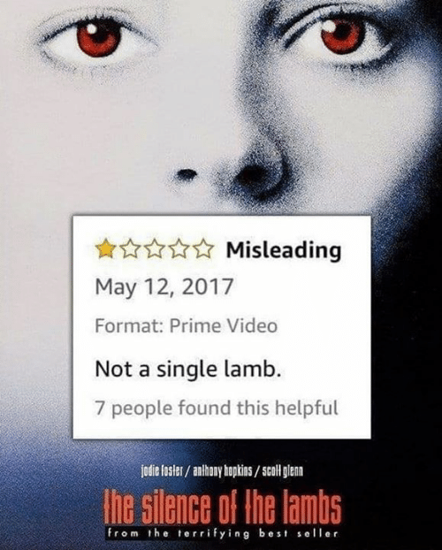 hopkins: Misleading  May 12, 2017  Format: Prime Video  Not a single lamb.  7 people found this helpful  jodie fosler/ anhony hopkins/scoll glan  he silence of the lambs  from the terrifying best seller
