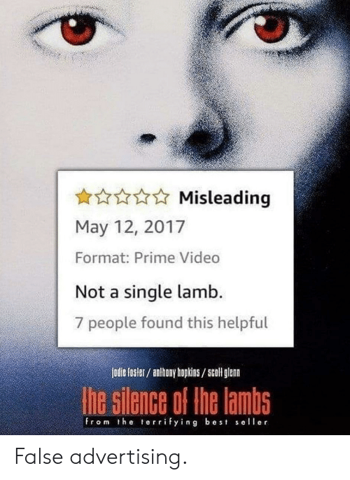 hopkins: Misleading  May 12, 2017  Format: Prime Video  Not a single lamb.  7 people found this helpful  jodie fosler/ anthony hopkins/5coll glenn  he silence of the lambs  from the terrifying best seller False advertising.