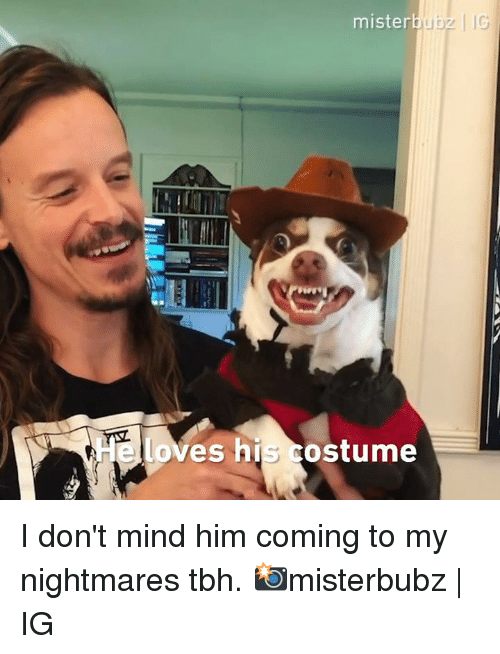 Dank, Tbh, and Mind: mister  loves his costume I don't mind him coming to my nightmares tbh.  📸misterbubz | IG
