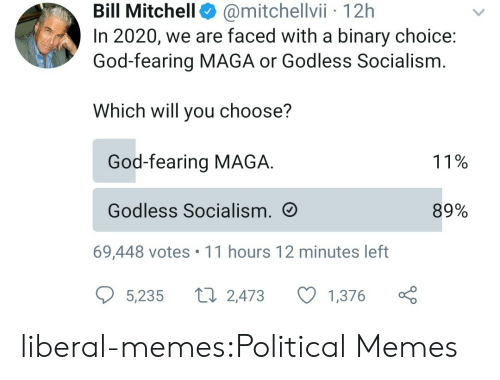 faced: @mitchellvii 12h  In 2020, we are faced with a binary choice:  God-fearing MAGA or Godless Socialism  Bill Mitchell  Which will you choose?  God-fearing MAGA  11%  Godless Socialism.  89%  69,448 votes 11 hours 12 minutes left  L 2,473  5,235  1,376 liberal-memes:Political Memes