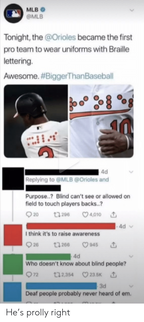 Backs: MLB  @MLB  Tonight, the @Orioles became the first  pro team to wear uniforms with Braille  lettering.  Awesome. #BiggerThan Baseball  4d  Replying to@MLB@Orioles and  Purpose..? Blind can't see or allowed on  field to touch players backs..?  t296 4010  20  4d  I think it's to raise awareness  26  945  t266  4d  Who doesn't know about blind people?  72  t12,354 23.5K  3d  Deaf people probably never heard of em. He's prolly right