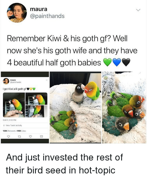Hot Topic: mnaura  @painthands  Remember Kiwi & his goth gf? Well  now she's his goth wife and they have  4 beautiful half go  th babies  maur  @painthands  I got Kiwi all goth gf  9/4/17, 3:55 PM  i View Tweet activity  128K Retweets 416K Likes And just invested the rest of their bird seed in hot-topic