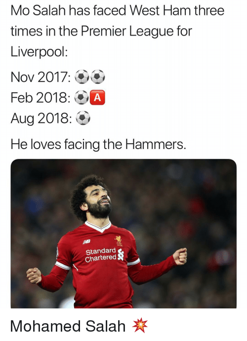 Memes, Premier League, and Liverpool F.C.: Mo Salah has faced West Ham three  times in the Premier League for  Liverpool  Nov 2017:0  Feb 2018: OA  Aug 2018:  He loves facing the Hammers  Standard  Chartered Mohamed Salah 💥