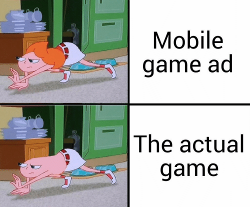 Game, Mobile, and Actual: Mobile  game ad  The actual  game