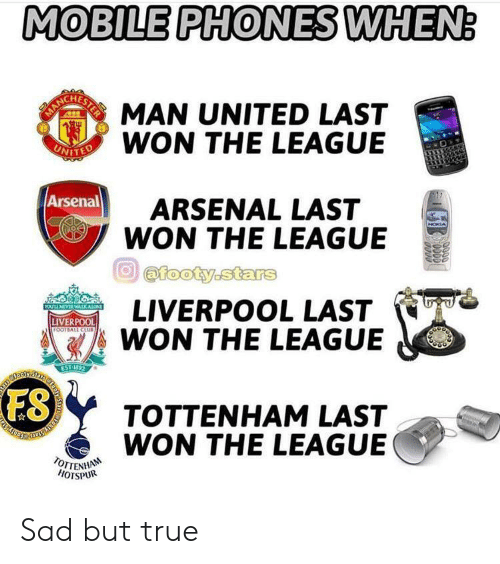 Being Alone, Arsenal, and Club: MOBILE PHONES WHEN:  OR MAN UNITED LAST  EN WON THE LEAGUE  ARSENAL LAST  WON THE LEAGUE  Arsenal  NOKIA  @footy.stars  LIVERPOOL LAST  WON THE LEAGUE  YOULLNEVERWALK ALONE  BOODD  LIVERPOOL  FOOTBALL CLUB  EST 1972  ES  TOTTENHAM LAST  TROY STOH  WON THE LEAGUE  TOTTENHAN  HOTSPUR  0000  ODDO Sad but true