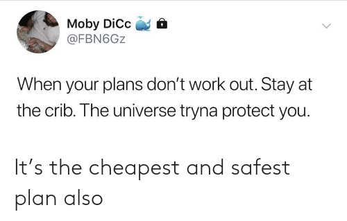 Protect: Moby Dic  @FBN6GZ  When your plans don't work out. Stay at  the crib. The universe tryna protect you.  <> It's the cheapest and safest plan also