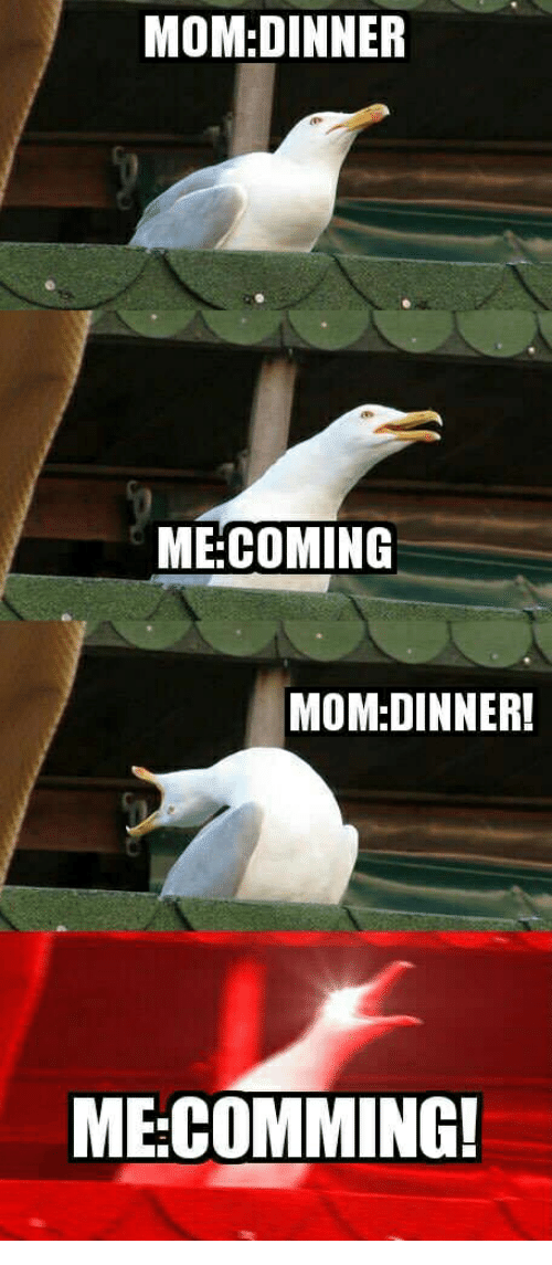 Mom, Coming, and Comming: MOM:DINNER  ME:COMING  MOM:DINNER!  ME:COMMING!