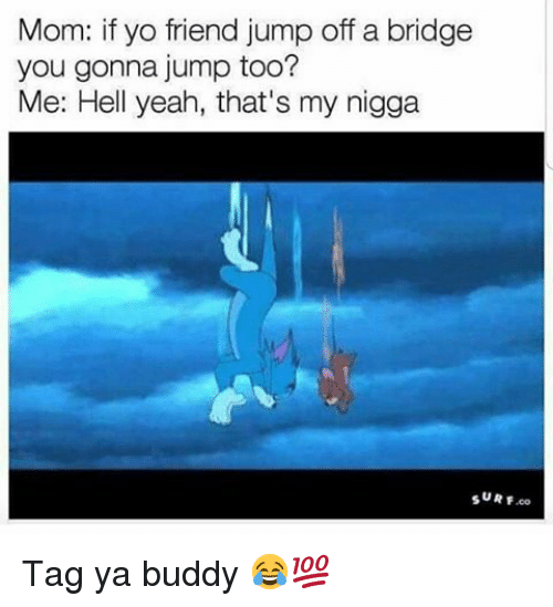 Memes, My Nigga, and Yeah: Mom: if yo friend jump off a bridge  you gonna jump too?  Me: Hell yeah, that's my nigga Tag ya buddy 😂💯