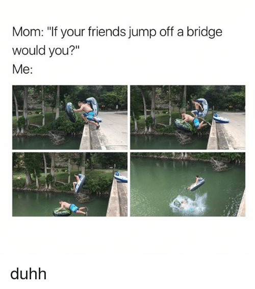 "Friends, Memes, and Mom: Mom: ""If your friends jump off a bridge  would you?""  Me duhh"