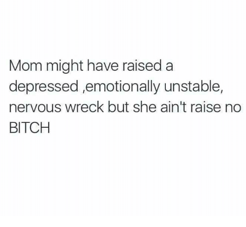 Bitch, Funny, and Tumblr: Mom might have raised a  depressed ,emotionally unstable,  nervous wreck but she ain't raise no  BITCH