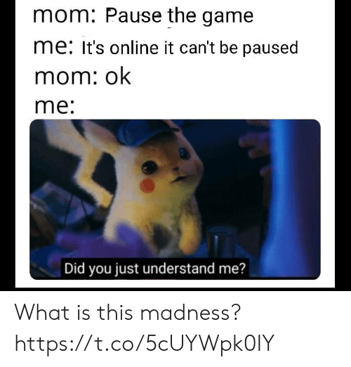 madness: mom: Pause the game  me: It's online it can't be paused  mom: ok  me:  Did you just understand me? What is this madness? https://t.co/5cUYWpk0IY