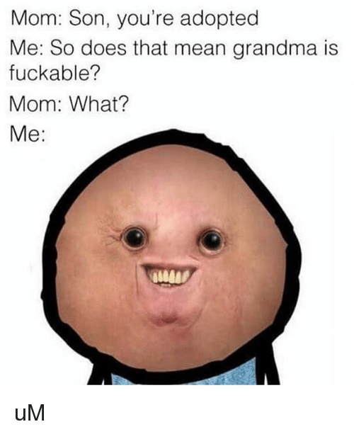 Thats Mean: Mom: Son, you're adopted  Me: So does that mean grandma is  fuckable?  Mom: What?  Me: uM