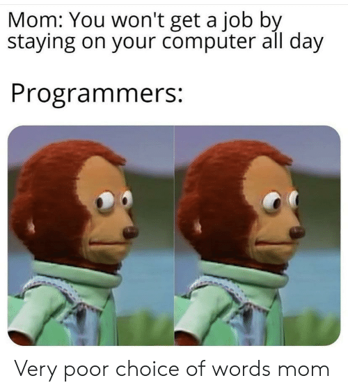 get a job: Mom: You won't get a job by  staying on your computer all day  Programmers: Very poor choice of words mom