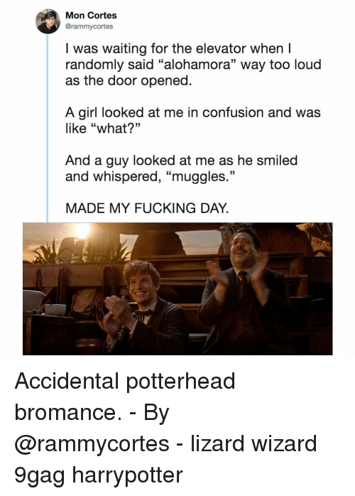 """Accidental: Mon Cortes  @rammycortes  I was waiting for the elevator when I  randomly said """"alohamora"""" way too loud  as the door opened  A girl looked at me in confusion and was  like """"what?""""  And a guy looked at me as he smiled  and whispered, """"muggles  13  MADE MY FUCKING DAY. Accidental potterhead bromance.⠀ -⠀ By @rammycortes⠀ -⠀ lizard wizard 9gag harrypotter"""