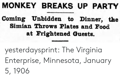 Minnesota: MONKEY BREAKS UP PARTY  Coming Unbidden to Dinner, the  Simian Throws Plates and Food  at Frightened Guests. yesterdaysprint:   The Virginia Enterprise, Minnesota, January 5, 1906