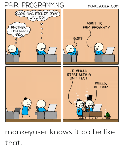 Knows: monkeyuser knows it do be like that.