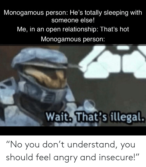 """Reddit, Sleeping, and Angry: Monogamous person: He's totally sleeping with  someone else!  Me, in an open relationship: That's hot  Monogamous person:  Wait. That's illegal. """"No you don't understand, you should feel angry and insecure!"""""""