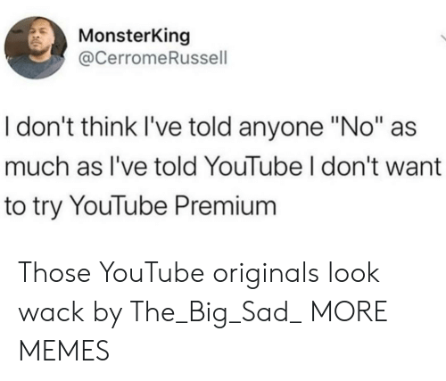 "premium: MonsterKing  @CerromeRussell  I don't think I've told anyone ""No""  much as I've told YouTube I don't want  to try YouTube Premium Those YouTube originals look wack by The_Big_Sad_ MORE MEMES"