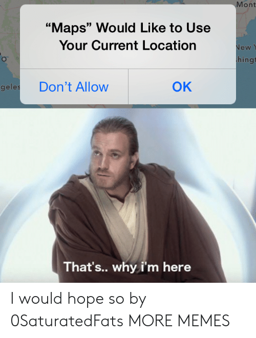 """Dank, Memes, and Target: Mont  """"Maps"""" Would Like to Use  Your Current Location  New  hingt  OK  Don't Allow  geles  That's.. why i'm here I would hope so by 0SaturatedFats MORE MEMES"""
