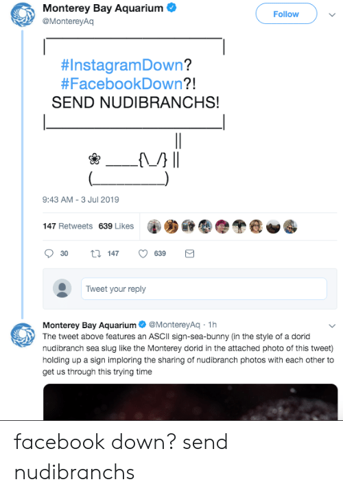 sea slug: Monterey Bay Aquarium  Follow  @MontereyAq  #InstagramDown?  #FacebookDown?!  SEND NUDIBRANCHS!  {M} |.  9:43 AM 3 Jul 2019  -  147 Retweets 639 Likes  147  30  639  Tweet your reply  Monterey Bay Aquarium  The tweet above features an ASCII sign-sea-bunny (in the style of a dorid  nudibranch sea slug like the Monterey dorid in the attached photo of this tweet)  @MontereyAq 1h  holding up a sign imploring the sharing of nudibranch photos with each other to  get us through this trying time  Σ facebook down? send nudibranchs