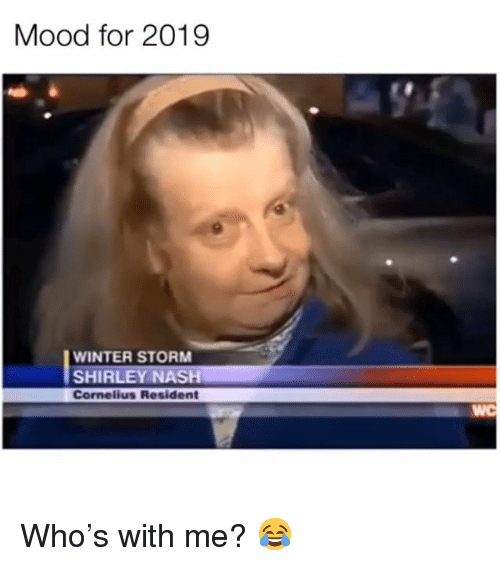 nash: Mood for 2019  WINTER STORM  SHIRLEY NASH  Cornelius Resident  WC Who's with me? 😂