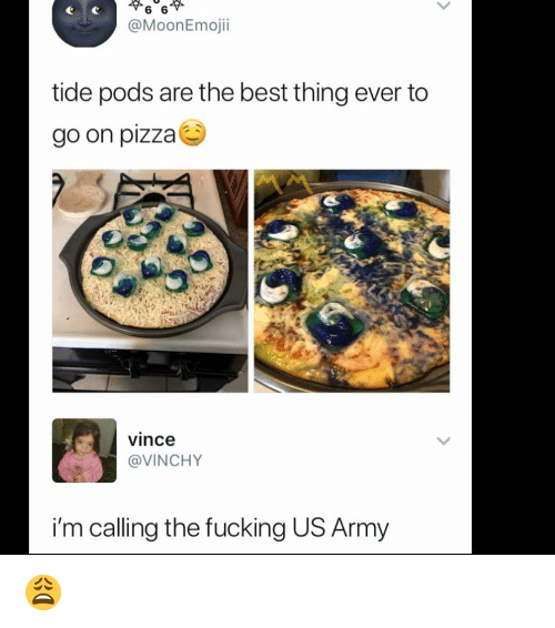 Fucking, Memes, and Pizza: @MoonEmojii  tide pods are the best thing ever to  go on pizza  vince  @VINCHY  i'm calling the fucking US Army 😩