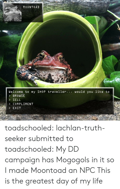 Life, Tumblr, and Blog: MOONTOAD  Welcome to my SHOP traveller... would you like to  > BROw SE  > SELL  > COMPLIMEN T  > EXIT toadschooled:    lachlan-truth-seeker submitted to toadschooled:   My DD campaign has Mogogols in it so I made Moontoad an NPC  This is the greatest day of my life