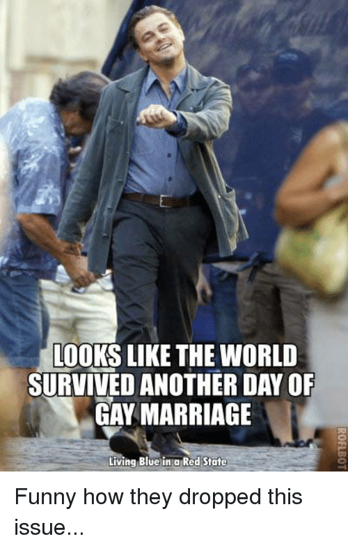 Funny, Marriage, and Memes: moors LIKE THE WORLD  SURVIVED ANOTHER DAYOF  GAY MARRIAGE  Living Blue in a Red State Funny how they dropped this issue...