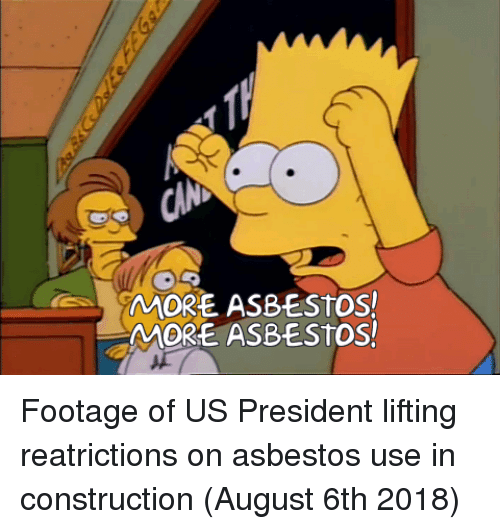 us president: MORE ASBESTOS!  MORE ASBESTOS! Footage of US President lifting reatrictions on asbestos use in construction (August 6th 2018)