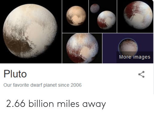 Images, Pluto, and Dwarf: More images  Pluto  Our favorite dwarf planet since 2006 2.66 billion miles away