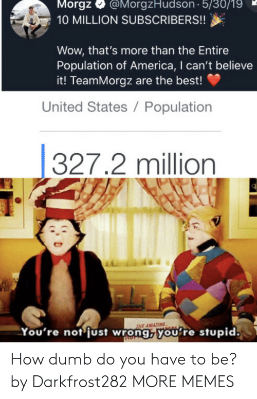 America, Dank, and Dumb: Morgz  @MorgzHudson 5/30/19  10 MILLION SUBSCRIBERS!!  Wow, that's more than the Entire  Population of America, I can't believe  it! TeamMorgz are the best!  United States / Population  327.2 million  IL  TS  INE AMAZING  You're not just wrong,youre stupid. How dumb do you have to be? by Darkfrost282 MORE MEMES