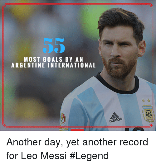 argentine: MOST GOALS BY AN  ARGENTINE INTERNATIONAL  adidas Another day, yet another record for Leo Messi #Legend