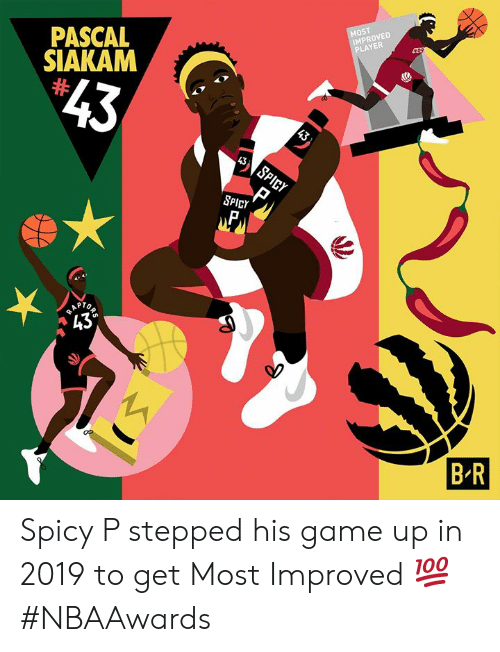 "Improved: MOST  IMPROVED  PLAYER  PASCAL  SIAKAM  $43  43  43  SPICY  SPICY  RAP  ""43°  R  B R Spicy P stepped his game up in 2019 to get Most Improved 💯 #NBAAwards"