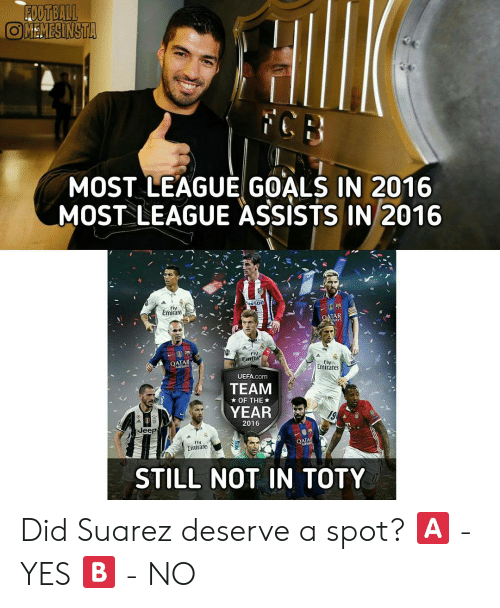 Goals, Memes, and Emirates: MOST LEAGUE GOALS IN 2016  MOST LEAGUE ASSISTS IN 2016  Emirare  ATAR  WAYS  FIV  Emir  OATAR  AIRWAYS  Fly  Emirates  UEFA.com  TEAM  YEAR  ★ OF THE ★  19  2016  Jeep  FlV  Emirate  STILL NOT IN TOTY Did Suarez deserve a spot? 🅰 - YES 🅱 - NO