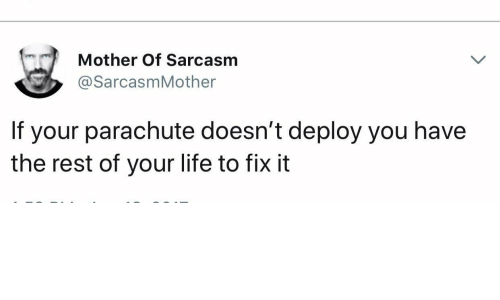 parachute: Mother Of Sarcasm  @SarcasmMother  If your parachute doesn't deploy you have  the rest of your life to fix it
