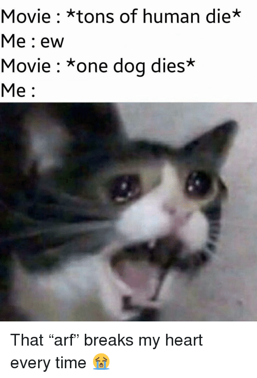 """Memes, Heart, and Movie: Movie : *tons of human die*  Me: ew  Movie: *one dog dies*  Me: That """"arf"""" breaks my heart every time 😭"""