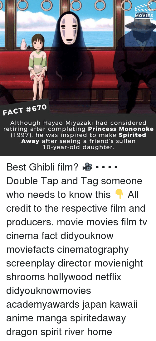 shrooms: MOVIES  FACT #670  Although Hayao Miyazaki had considered  retiring after completing Princess Mononoke  (1997), he was inspired to make Spirited  Away after seeing a friend's sullen  10-year-old daughter. Best Ghibli film? 🎥 • • • • Double Tap and Tag someone who needs to know this 👇 All credit to the respective film and producers. movie movies film tv cinema fact didyouknow moviefacts cinematography screenplay director movienight shrooms hollywood netflix didyouknowmovies academyawards japan kawaii anime manga spiritedaway dragon spirit river home