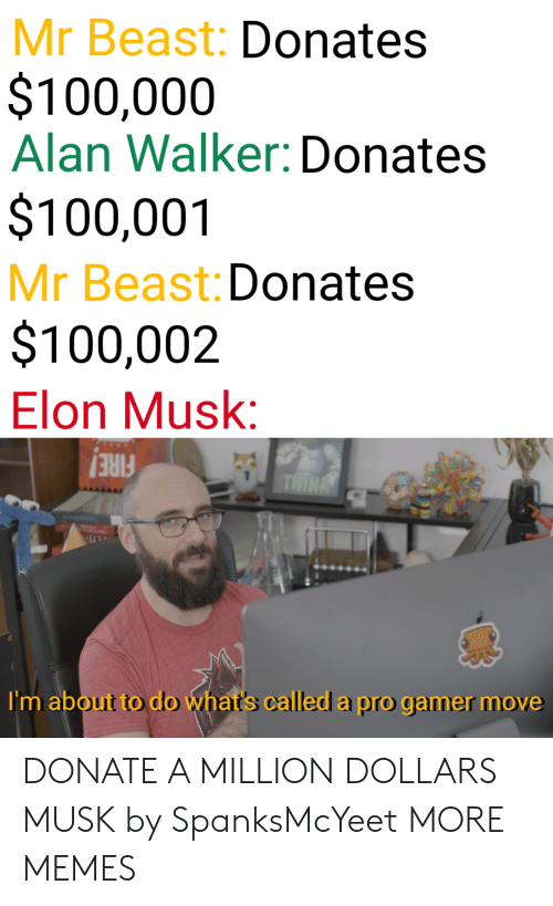 Dank, Fire, and Memes: Mr Beast: Donates  $100,000  Alan Walker: Donates  $100,001  Mr Beast: Donates  $100,002  Elon Musk:  FIRE!  I'm about to do what's called a pro gamer move DONATE A MILLION DOLLARS MUSK by SpanksMcYeet MORE MEMES