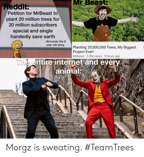 views: Mr Beast:  Reddit:  Petition for MrBeast to  plant 20 million trees for  20 million subscribers  special and single  handedly save earth  7:23  Sincerely the 9  year old army  Planting 20,000,000 Trees, My Biggest  Project Ever!  MrBeast 3.8M views 5 hours ago  The entire internet and every  animal: Morgz is sweating. #TeamTrees