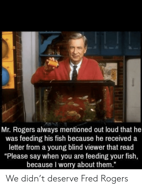 "Fish, Mr Rogers, and Fred Rogers: Mr. Rogers always mentioned out loud that he  was feeding his fish because he received a  letter from a young blind viewer that read  ""Please say when you are feeding your fish,  because I worry about them."" We didn't deserve Fred Rogers"