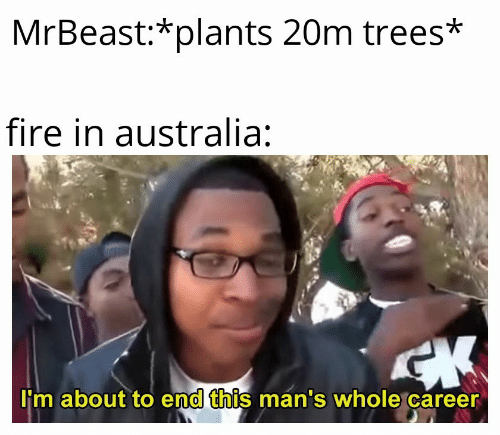 career: MrBeast:*plants 20m trees*  fire in australia:  CK  I'm about to end this man's whole career