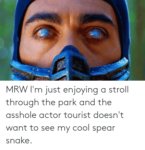 Tourist: MRW I'm just enjoying a stroll through the park and the asshole actor tourist doesn't want to see my cool spear snake.