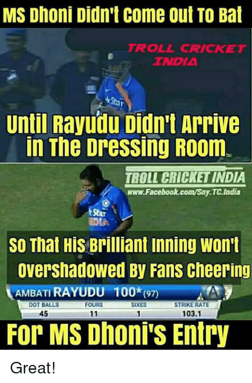 Rateing: MS Dhoni Didn't come out TO Bat  TROLL CRICKET  TNDIA  ar  Until Rayudu Didn't Arrive  In The DresSing R00m.  TBOLL CRICKET INDIA  www.Facebook.com/Sny.TC.India  SO That His Brilliant inning Won't  Overshadowed By Fans cheering  AMBATI RAYUDU  100*(97)  DOT BALLS  SIXES  STRIKE RATE  FOURS  45  103.1  11  For MS Dhoni's Entry Great!