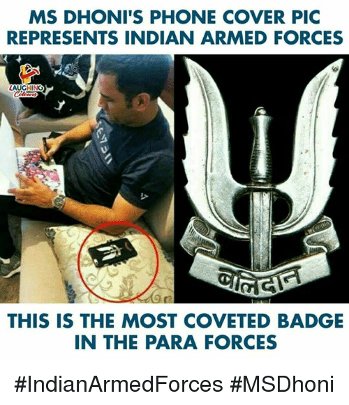 Phone, Indian, and Indianpeoplefacebook: MS DHONI'S PHONE COVER PIC  REPRESENTS INDIAN ARMED FORCES  THIS IS THE MOST COVETED BADGE  IN THE PARA FORCES #IndianArmedForces #MSDhoni